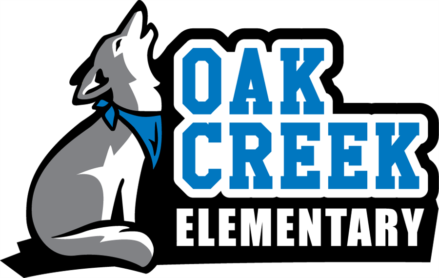 Gray and white coyote howling with Oak Creek Elementary written to the right